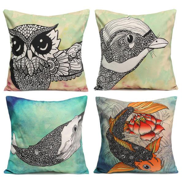 Owl Bird Fish Cotton Velvet Throw Pillow Case Back Waist Cushion Cover Home Sofa Decor - Slabiti