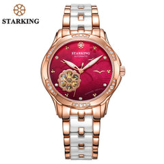 STARKING 34mm Automatic Watch Rose Gold Steel Case Vogue Dress Watches Skeleton Transparent Watch Women Mechanical Wristwatches - Slabiti