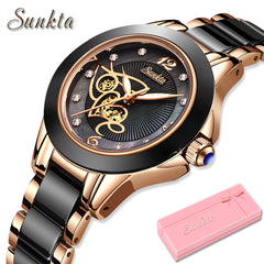 SUNKTA Diamond Surface Ceramic Strap Fashion Waterproof Women Watches Top Brand Luxury Quartz Watch Women Gift Relogio Feminino - Slabiti