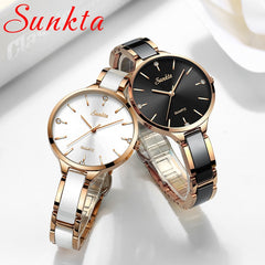 SUNKTA Women Watch Ceramic Watch Women Simple Diamond Clock Casual Fashion Watch Sport Waterproof Wristwatch Relogio Feminino - Slabiti
