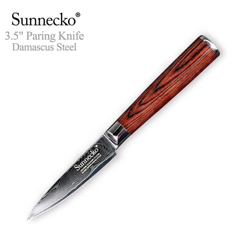 SUNNECKO 3.5'' inches Paring Knife 73 layers Damascus VG10 Steel Blade Kitchen Knives Pakka Wood Handle Sharp Fruit Cutter Tool - Slabiti