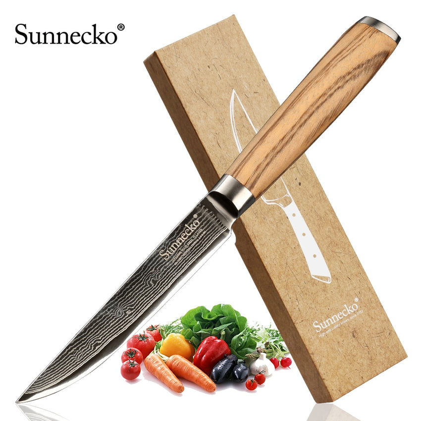 "SUNNECKO 5"" Utility Knife Japanese VG10 Damascus Steel Blade Original Wood Handle Chef's Fruit Slicing Cutting Kitchen Knives - Slabiti"