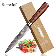 SUNNECKO 5 inch Utility Kitchen Knife Japanese VG10 Steel Blade Chef Damascus Meat Fruit Cutter Pakka Wood Handle Cooking Knives - Slabiti