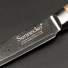 SUNNECKO 5 inches Utility Knife Damascus VG10 Steel Knife Multipurpose Kitchen Knives Original Wood Handle Sharp Cutter Tools - Slabiti