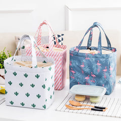 School Lunch Box Portable Thermal Lunch Bag Kids Lunch Box  Food Ice Container Picnic Tote Folding Floral Printed Cooler Handbag - Slabiti