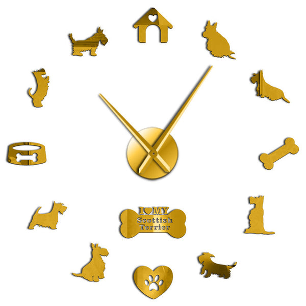 Scottish Terrier Large Wall Clock Aberdeen Terrier I Love My Scottie DIY Sticker Frameless Big Wall Clock Silent Sweep Movement - Slabiti