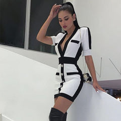 Seamyla New Women Bandage Dress Fashion Short Sleeve White Bodycon Celebrity Party Dresses 2019 Sexy Club Summer Dress Vestidos - Slabiti