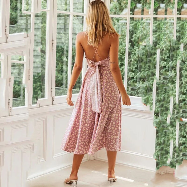 Sexy Floral Print Women Summer Sleeveless Sexy Dress Backless Vintage Long Boho Dress Lad Party Lady Casual Beach  Dress - Slabiti