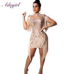 Sexy Sheer Sequins Evening Party Bodycon Summer Mini Dress Women Elegant Short Sleeve Tassel Club dresses Casual bandage Vestido - Slabiti
