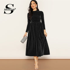 Sheinside Black Stand Collar Glitter Midi Dress Women 2019 Autumn High Waist Trim Dresses Ladies Solid  A Line Party Dress - Slabiti