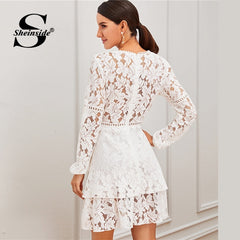 Sheinside White Contrast Lace Party Dress Women 2019 Autumn Sheer Lace Zipper Back Mini Dresses Ladies Layered Lace Dress - Slabiti