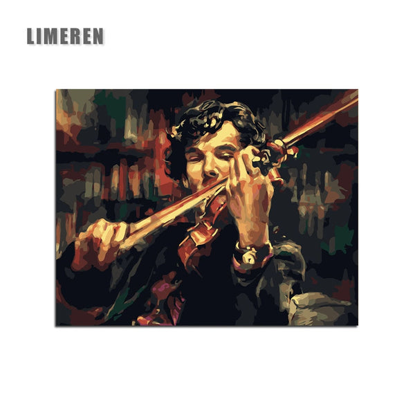 Sherlock Holmes Violin DIY Digital Painting By Numbers Acrylic Paint Abstract Modern Wall Art Canvas Painting For Home Decor - Slabiti