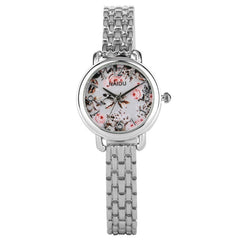 Silver/Gold Color Band Women's Bracelet Watches Elegant Small Dial Lady Wrist Watch Jungle Flower Face Unique Style Clock Gifts - Slabiti