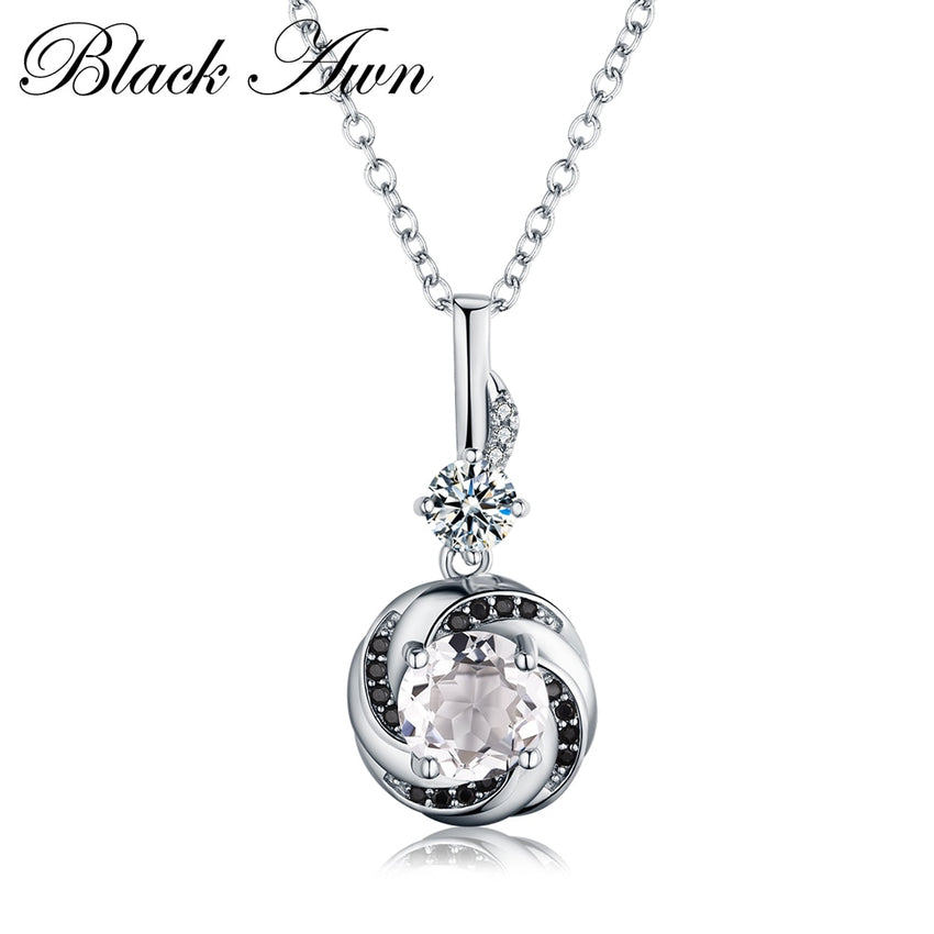 Silver Necklace 925 Sterling Silver Fine Jewelry Trendy Engagement Necklaces for Women Wedding Necklaces Pendants P159 - Slabiti