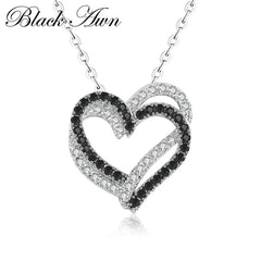 Silver Necklace Fine Genuine 100% 925 Sterling Silver Necklace Women Jewelry Heart Black&White Stone Pendants P107 - Slabiti