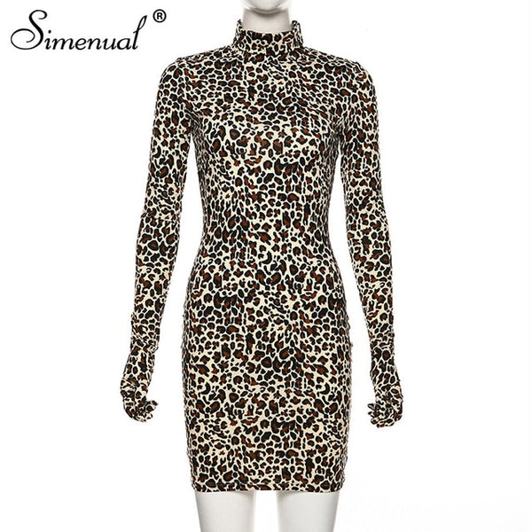 Simenual Leopard Sexy Hot Women Party Dress With Gloves Long Sleeve Skinny Clubwear Fashion Bodycon Mini Dresses Autumn Slim New - Slabiti