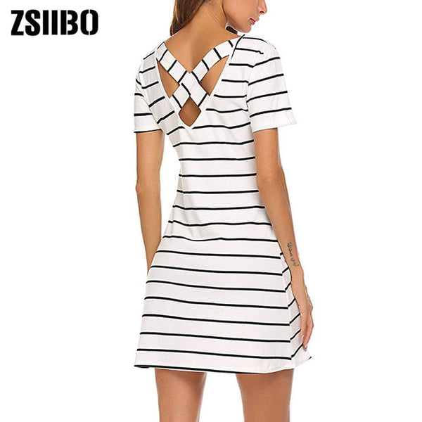 Simple Fashion Dress Lady Summer Large Size Mini Swing Dress Casual Stripe Criss Cross Short Sleeve T-Shirt Mini Dress