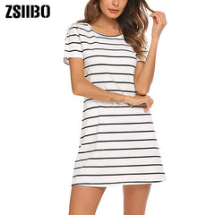 Simple Fashion Dress Lady Summer Large Size Mini Swing Dress Casual Stripe Criss Cross Short Sleeve T-Shirt Mini Dress - Slabiti