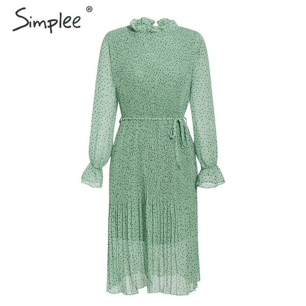 Simplee Bohemian dot print women dress Elegant sash lace up pleated female autumn dress Long sleeve ruffled ladies vintage dress