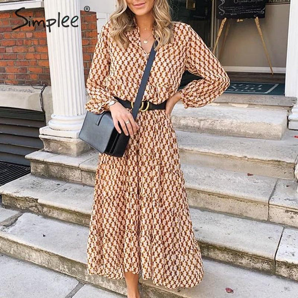 Simplee Bohemian long party dress Floral print geometric women vintage dress Elegant office lady autumn winter dress vestidos