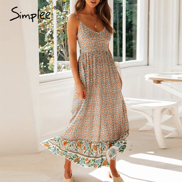 Simplee Boho floral print women beach dress V neck straps spring summer female long dress High waist a-line ladies dresses 2020
