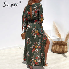 Simplee Boho floral print women dress Summer asymmetrical sleeve sashes split chiffon dresses Casual beach female long vestidos