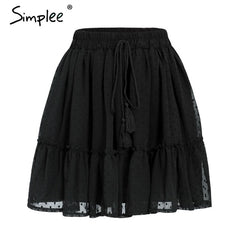 Simplee Casual polka dot mini women skirt High waist A line korean tassel pink summer skirt Sexy ruffle beach female skirts 2019 - Slabiti