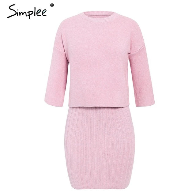 Simplee Elegant 2 pieces women knitted dress Slim sleeveless sweater dress Autumn winter ladies pullover sweater dress set 2019 - Slabiti