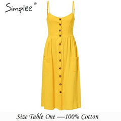 Simplee Elegant button women dress Pocket polka dots yellow cotton midi dress Summer casual female plus size lady beach vestidos - Slabiti
