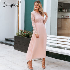 Simplee Elegant lace dress women Embroidery pleated o neck long plus size dresses female Autumn winter lady sexy party vestidos