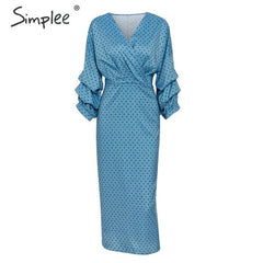Simplee Elegant v-neck women dress Polka dot lantern sleeve female plus size evening party dress Autumn slim lady vintage dress - Slabiti