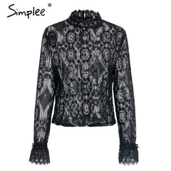 Simplee Elegant white lace blouse shirt Sexy hollow out embroidery feminine blouse Women long lantern sleeve summer tops female - Slabiti