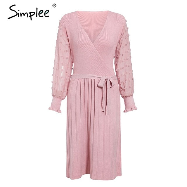Simplee Elegant women knitted dress Sexy v-neck long sleeve pleated belted female dress Autumn winter sweater slim party dresses