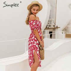 Simplee Flower women boho dress Spring puff sleeve high waist female summer dress Ladies chic ruffled a-line holiday midi dress