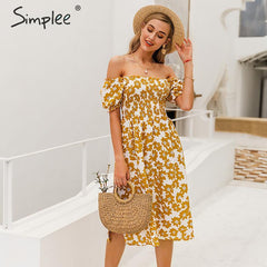 Simplee Flower women boho dress Spring puff sleeve high waist female summer dress Ladies chic ruffled a-line holiday midi dress - Slabiti