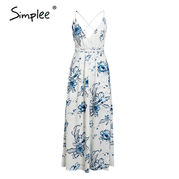 Simplee Holiday beach v neck women floral dress Spaghetti straps high waist female long dress Spring summer split ladies dresses