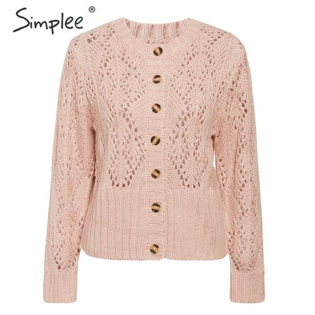 Simplee Hollow out crohect knitted cardigan sweater Women winter lady sweater Long sleeve high waist female outwear jumper - Slabiti