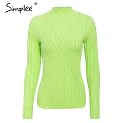 Simplee Knitted jumper sweater women autumn winter Long sleeve top turtleneck female sweater ladies bestmatch pullover jumpers - Slabiti
