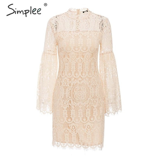 Simplee Sexy lace embroidery women dress Elegant flare sleeve female party dress Ruffled ladies autumn office dress vestidos - Slabiti