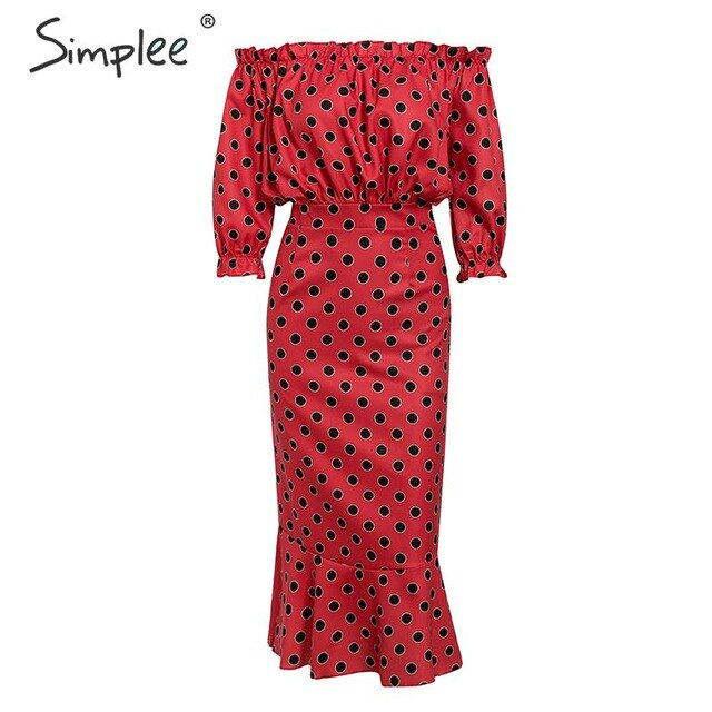 Simplee Sexy off shoulder maxi dress Slim polka dots women high waist ruffle vestidos 2019 Autumn winter casual party dress - Slabiti