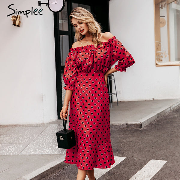 Simplee Sexy off shoulder maxi dress Slim polka dots women high waist ruffle vestidos 2019 Autumn winter casual party dress