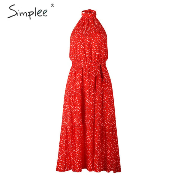 Simplee Sexy polka dot women dress Plus size sleeveless high waist belt maxi boho dress Casual holiday beach party summer dress