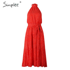 Simplee Sexy polka dot women dress Plus size sleeveless high waist belt maxi boho dress Casual holiday beach party summer dress - Slabiti