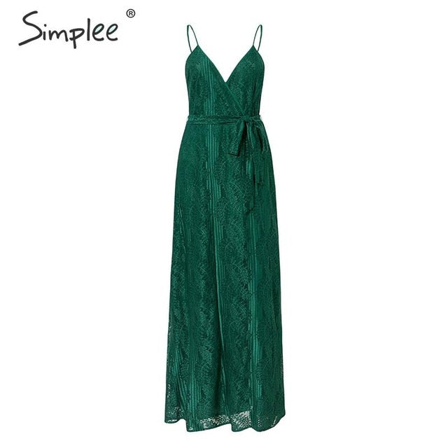 Simplee Sexy sleeveless long party dress High waist floral green lace dress Lady autumn chic v-neck vent evening backless dress - Slabiti