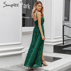Simplee Sexy sleeveless long party dress High waist floral green lace dress Lady autumn chic v-neck vent evening backless dress