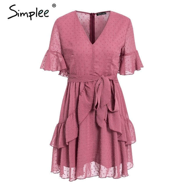 Simplee Sexy v-neck polka dot women dress Summer style layer ruffle chiffon short sundress Elegant zipper holiday vestidos 2019