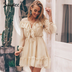 Simplee Sexy v neck ruffle women dress Elegant long sleeve mesh lining summer party dresses Casual fashion female short vestidos - Slabiti