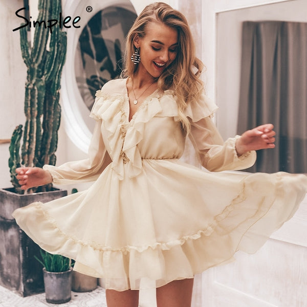Simplee Sexy v neck ruffle women dress Elegant long sleeve mesh lining summer party dresses Casual fashion female short vestidos