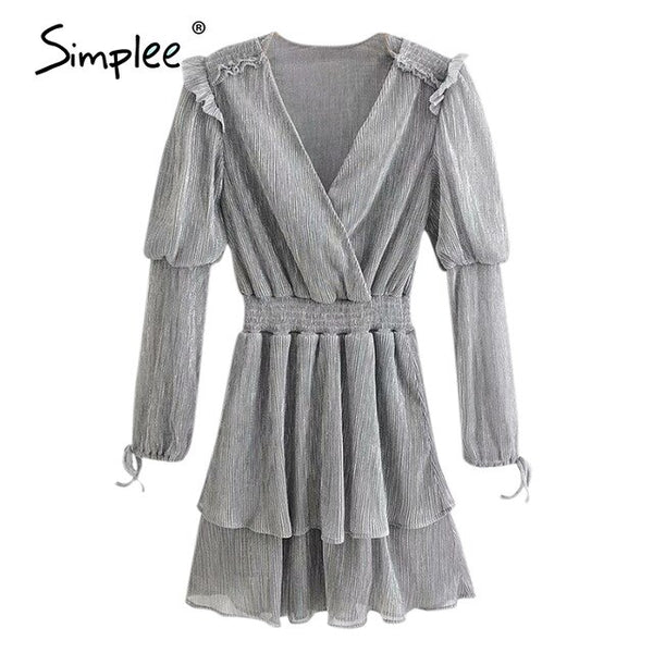 Simplee Sexy v neck silver women party dress Long sleeve elegant spring female dresses High waist party club chic mini dresses