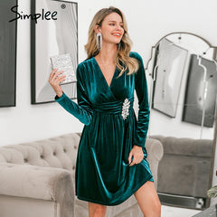 Simplee Sexy v-neck velvet dress Elegant long sleeve crystal ruched short party dress Office lady chic autumn winter mini dress - Slabiti
